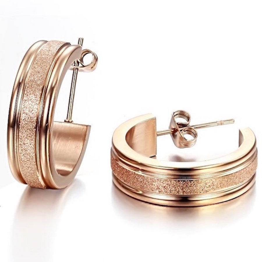 floray edelstahl ohrringe rosegold ohrstecker damen schmuck gold neu luxus perle ebay. Black Bedroom Furniture Sets. Home Design Ideas